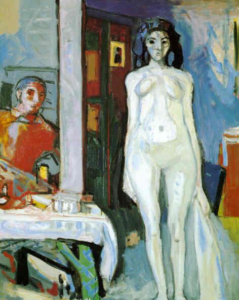 Stehender Akt und Selbstbildnis im Spiegel Unterengstringen, um 1949/50 Oel auf Leinwand, 81 x 65 cm Nicht bezeichnet Privatbesitz