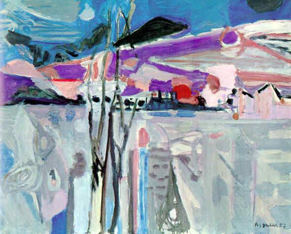 """Tiefer Mond Unterengstringen, 1957 Oel auf Leinwand, 130 x 162 cm Bezeichnet unten rechts: """"M Gubler 57"""" Privatbesitz Werkkatalog Nr. 2176"""